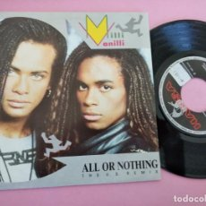 Discos de vinilo: MILLI VANILLI - ALL OR NOTHING + DREAMS TO REMEMBER SINGLE VINILO 1990 SPAIN. Lote 257726530