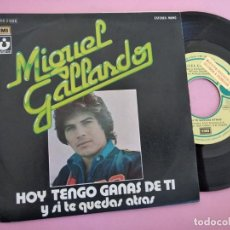Discos de vinilo: MIGUEL GALLARDO. HOY TENGO GANAS DE TI. Y SI TE QUEDAS ATRAS. Lote 257727675