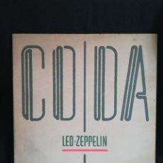 Discos de vinilo: LP GATEFOLD, LED ZEPPELIN - CODA, 1982, INSERT IMPRESO ORIGINAL. Lote 257768630