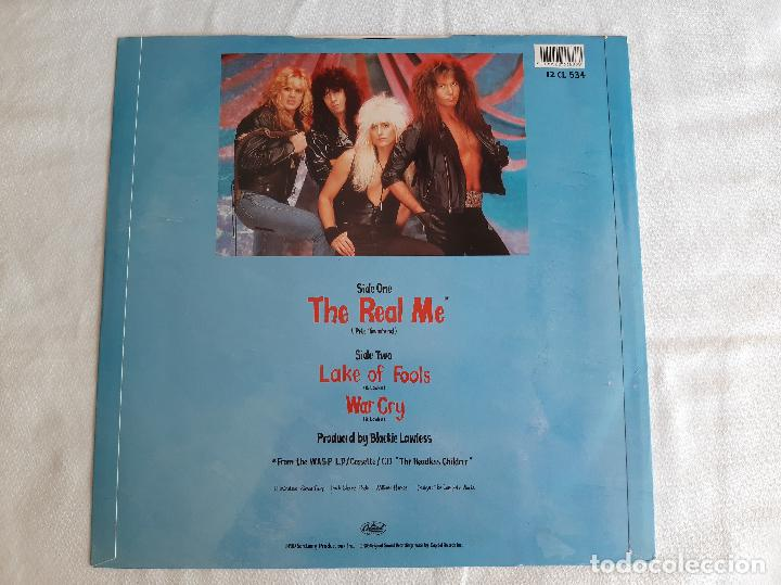 Discos de vinilo: W.A.S.P. -THE REAL ME- (1989) MAXI-SINGLE FIRMADO - Foto 3 - 258044690