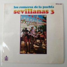 Discos de vinil: LOS ROMEROS DE LA PUEBLA - SEVILLANAS 3 EP HISPAVOX. Lote 258143230