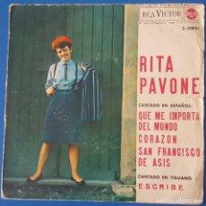 Disques de vinyle: EP / RITA PAVONE - QUE ME IMPORTA DEL MUNDO, 1964. Lote 259042020