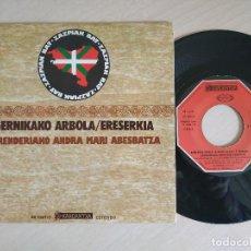 Discos de vinilo: ERRENDERIAKO ANDRA MARI ABESBATZA - GERNIKAKO ARBOLA / ERESERKIA - RARO SINGLE 1977 COMO NUEVO. Lote 259278665