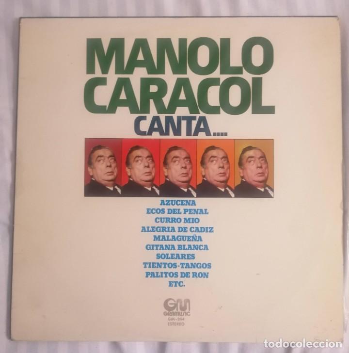 DISCO VINILO LP MANOLO CARACOL CANTA - MANOLO CARACOL - (Música - Discos - LP Vinilo - Flamenco, Canción española y Cuplé)