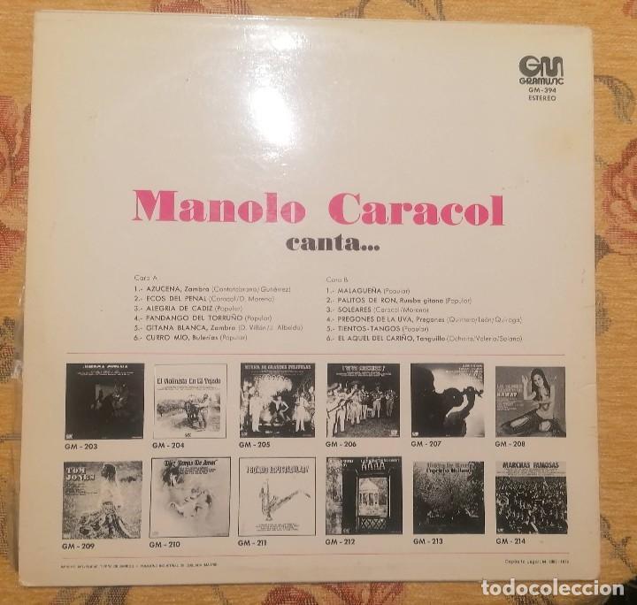 Discos de vinilo: DISCO VINILO LP MANOLO CARACOL CANTA - MANOLO CARACOL - - Foto 2 - 259712890