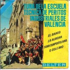 Disques de vinyle: TUNA TECNICA DE PERITOS INDUSTRIALES DE VALENCIA - EL BARCO + LA AURORA.. EP SPAIN 1963. Lote 259723130
