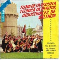 Disques de vinyle: TUNA ESCUELA TECNICA DE PERITOS INDUSTRIALES DE VALENCIA - TORREVIEJA + TUNA DE PERITOS EP SPAIN 196. Lote 259723175