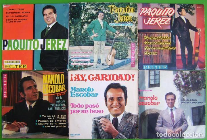 LOTE DE 6 SINGLES (3 DE MANOLO ESCOBAR Y 3 DE PAQUITO JEREZ) (Música - Discos - Singles Vinilo - Flamenco, Canción española y Cuplé)
