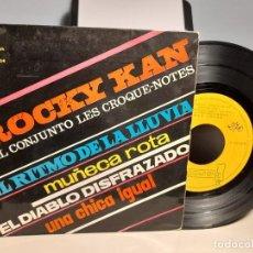 Discos de vinilo: EP ROCKY KAN Y EL CONJUNTO LES CROQUE-NOTES : EL RITMO DE LA LLUVIA. Lote 259937815