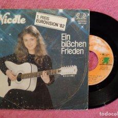 Discos de vinilo: SINGLE NICOLE - EIN BIBCHEN FRIEDEN - MO 2132 - SPAIN PRESS (VG++/VG++) EUROVISION 82. Lote 260049330