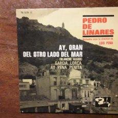 Discos de vinilo: PEDRO DE LINARES - AY ORAN + GARCÍA LORCA + DEL OTRO LADO DEL MAR + AY PENA PENITA. Lote 260504090