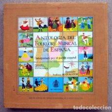 Disques de vinyle: ANTOLOGÍA DEL FOLKLORE MUSICAL DE ESPAÑA. PRIMERA SELECCIÓN ANTOLÓGICA. M. Gª MATOS. 4 LPS. Lote 260506100