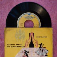 "Discos de vinilo: 7"" JOSEF LANNER - HOFBALL-TÄNZE - 30 096 EPL - EP GERMANY PRESS (VG++/EX+). Lote 260511045"