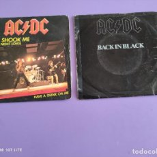 Discos de vinilo: LOTE DOS SINGLES. AC & DC. BACK IN BLACK/WHAT DO YOU DO..( PORTUGAL ) Y YOU SHOOK ME/HAVE A(FRANCIA). Lote 260577100