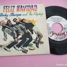Discos de vinilo: ROCKY SHARPE AND THE REPLAYS EP CHISWICK MOVIEPLAY 1980 FELIZ NAVIDAD ROCK AND ROLL DOO WOP. Lote 260785700
