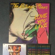 Disques de vinyle: LOTE VINILOS THE ROLLING STONES : LOVE YOU LIVE (DOBLE LP) + EMOTIONAL... (SINGLE) + N° UNO (SINGLE). Lote 260800355