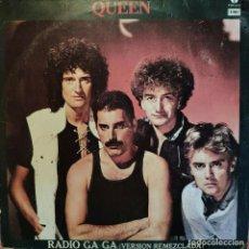 """Discos de vinilo: 12"""" QUEEN - RADIO GA GA (VERSIÓN REMEZCLADA) - EMI POP-615 - MEXICO PRESS (G+/VG+). Lote 260850315"""