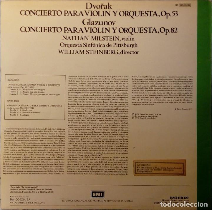 Discos de vinilo: LP Conciertos violín y orquesta Dvorak Glasunow Nathan Milstein Dirige : Steinberg - Foto 2 - 261147420