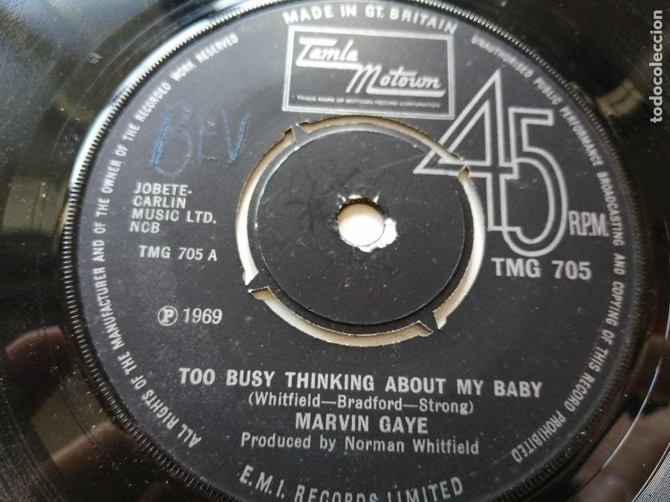 MARVIN GAYE – TOO BUSY THINKING ABOUT MY BABY SINGLE UK 1969 VG++ (Música - Discos - Singles Vinilo - Funk, Soul y Black Music)