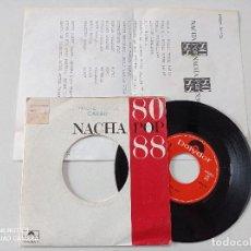 Discos de vinilo: NACHA POP - 80 -88 NADIE PUEDE PARAR - SINGLE PROMOCIONAL CON HOJA DE PRENSA POLYDOR 1988. Lote 261253715