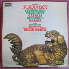 Discos de vinilo: BOX SET - PUCCINI - TURANDOT (CONTIENE 3 LP'S Y LIBRETO, SPAIN, DECCA 1974) VER FOTOS ADJUNTAS. Lote 261257505