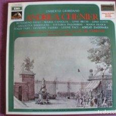 Discos de vinilo: BOX SET - GIORDANO - ANDREA CHENIER (CONTIENE 2 LP'S Y LIBRETO, SPAIN, LA VOZ DE SU AMO 1970). Lote 261261820