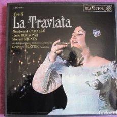 Discos de vinilo: BOX SET - VERDI - LA TRAVIATA (CONTIENE 3 LP'S Y LIBRETO, SPAIN, RCA 1968, VER FOTOS). Lote 261264880