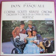 Discos de vinilo: BOX SET - DONIZETTI - DON PASQUALE (CONTIENE 2 LP'S Y LIBRETO, SPAIN, DECCA 1974, VER FOTOS). Lote 261267720