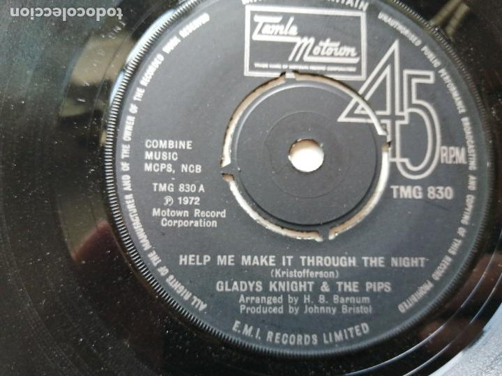 GLADYS KNIGHT AND THE PIPS – HELP ME MAKE IT THROUGH THE NIGHT SINGLE UK 1972 FUNK EX (Música - Discos - Singles Vinilo - Funk, Soul y Black Music)
