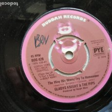 Discos de vinilo: GLADYS KNIGHT AND THE PIPS – THE WAY WE WERE / TRY TO REMEMBER SINGLE UK 1974 FUNK EX. Lote 261274820