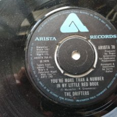 Discos de vinilo: THE DRIFTERS – YOU'RE MORE THAN A NUMBER IN MY LITTLE RED BOOK SINGLE UK 1976 EX. Lote 261276390