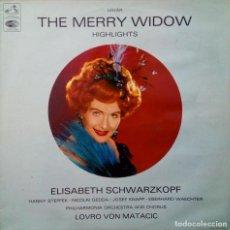 Discos de vinilo: LP THE MERRY WIDOW HIGHLIGHTS ELISABETH SCHWARZKOPF MATACIC LA VOZ DE SU AMO EMI 1963. Lote 261303345