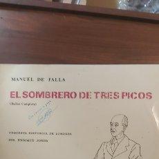 Discos de vinilo: 1968 MANUEL FALLA EL SOMBRERO DE TRES PICOS ORQUESTA SINFÓNICA LONDRES ENRIQUE JARDA. Lote 261342640