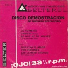 Discos de vinilo: LOS GRITOS (VEO VISIONES) + 5 (EP PROMOCIONAL BELTER 1969). Lote 261569505