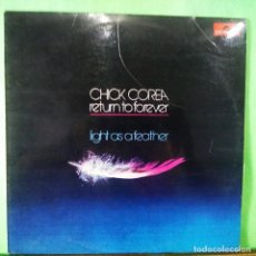 Discos de vinilo: CHICK COREA . RETURN TO FOREVER . LIGHT AS A FEATHER 1973. . LIMPO, TRATADO CON ALCOHOL ISOPROPÍLICO. Lote 261569745