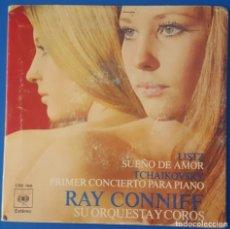 Discos de vinilo: SINGLE / RAY CONNYFF - PRIMER CONCIERTO PARA PIANO - SUEÑO DE AMOR, 1971. Lote 261597500