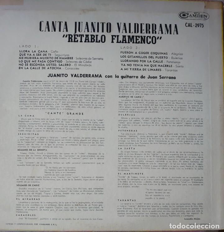 Discos de vinilo: Juanito Valderrama Lp sello RCA Camden editado en Argentina - Foto 2 - 261627970