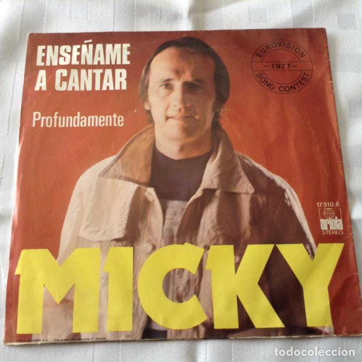 Discos de vinilo: MICKY - ENSEÑAME A CANTAR - EUROVISION 1977 - SINGLE ARIOLA - Foto 2 - 261686765