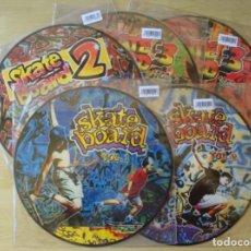 Discos de vinilo: SKATE BOARD : LOTE 5 PICTURE DISC NUEVOS Y SELLADOS (VOLS. 1, 2, 2 MIX, 3-1 Y 3-2) - BLANCO Y NEGRO. Lote 261849970