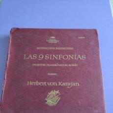 Discos de vinilo: JOYA/CAJA. LAS 9 SINFONIAS. BEETHOVEN. FILARMONICA BERLIN. KARAJAN. DEUTSCHE GRAMMOPHON.. Lote 261853400