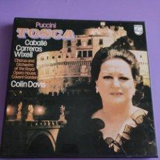 Discos de vinilo: CAJA OPERA 2 LP´S + LIBRETO : PUCCINI - TOSCA - CABALLE - CARRERAS - WIXELL - COLIN DAVIS.PHILIPS.. Lote 261859320