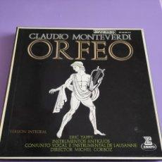 Discos de vinilo: CAJA. CLAUDIO MONTEVERDI.- ORFEO.- DIR- MICHEL CORBOZ- ESTUCHE 3 LPS- + LIBRO. ERATO. HE 60 83/4/5. Lote 261862480