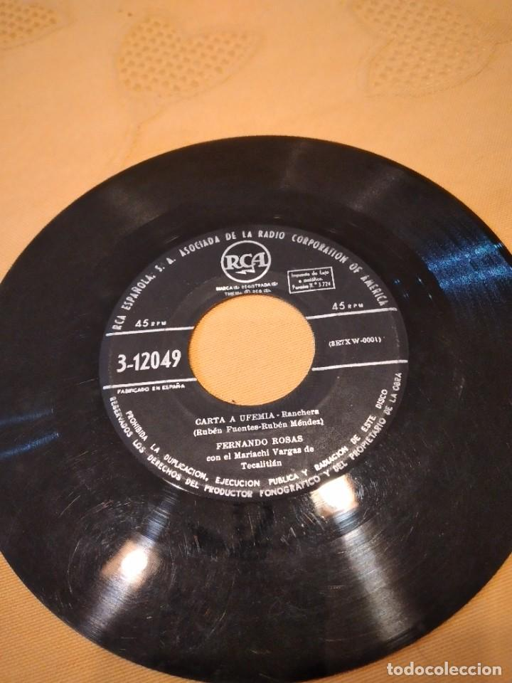 BAL-3 DISCO 7 PULGADAS SIN CARATULA FERNANDO ROSAS CON EL MARIACHI VARGAS DE TECALITLAN *CARTA A UFE (Música - Discos - Singles Vinilo - Otros estilos)