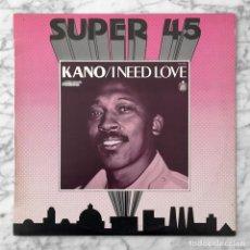 Discos de vinilo: MAXI-SINGLE - KANO - I NEED LOVE / IKEYA SEKI - HISPAVOX - 1983 (ITALO-DISCO). Lote 261959250