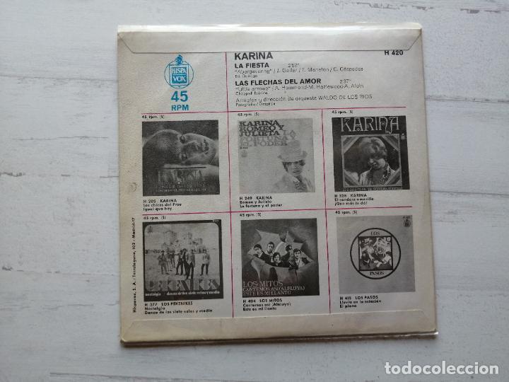 Discos de vinilo: Karina (4) – La Fiesta Single 1968 EX/EX - Foto 2 - 261964950