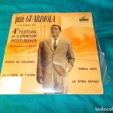 Discos de vinilo: JOSE GUARDIOLA. CANCIONES DEL 4º FESTIVAL CANCION MEDITERRANEA 1962. EP. LA VOZ DE SU AMO. Lote 261978255