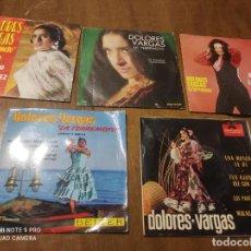 Discos de vinilo: DOLORES VARGAS LA TERREMOTO-LOTE 5 DISCOS-3 SINGLES Y DOS EP-ACID RUMABA POP. Lote 261986120