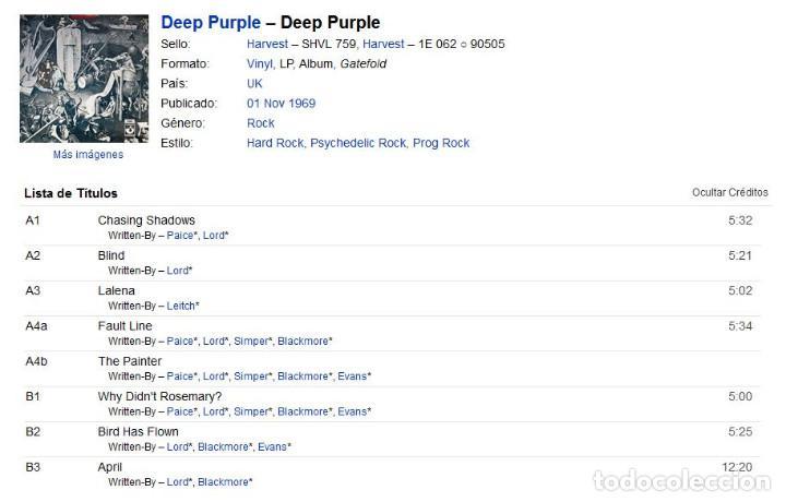Discos de vinilo: VINILO LP - DEEP PURPLE - DEEP PURPLE - MADE IN UK - 1969 - GATEFOLD - 1ra EDICION MUNDIAL - Foto 2 - 262102375