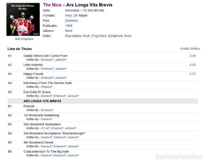 Discos de vinilo: VINILO LP - THE NICE - ARS LONGA VITA BREVIS - MADE IN GERMANY - 1969 - Foto 2 - 262110765