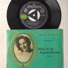 Discos de vinilo: MARÍA DE LOS ÁNGELES MORALES. ROMANZAS DE ZARZUELA. EP ALHAMBRA EMGE 70019. ESPAÑA. ATAULFO ARGENTA. Lote 262120595